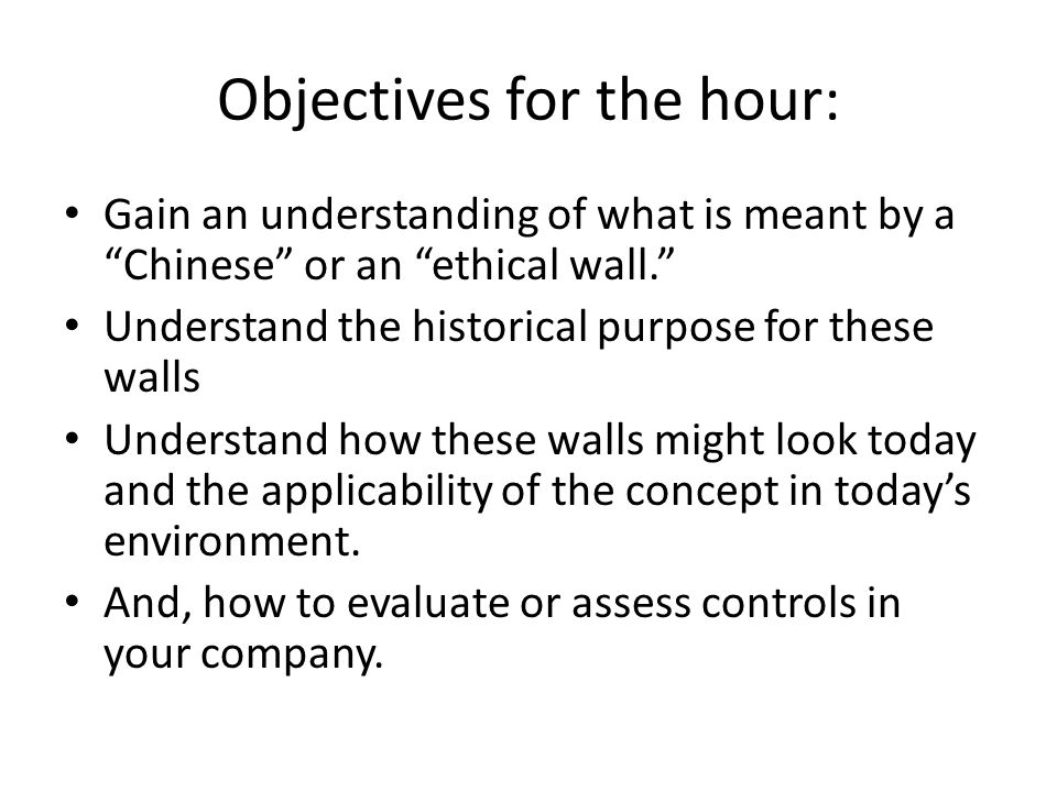 Objectives for the hour: