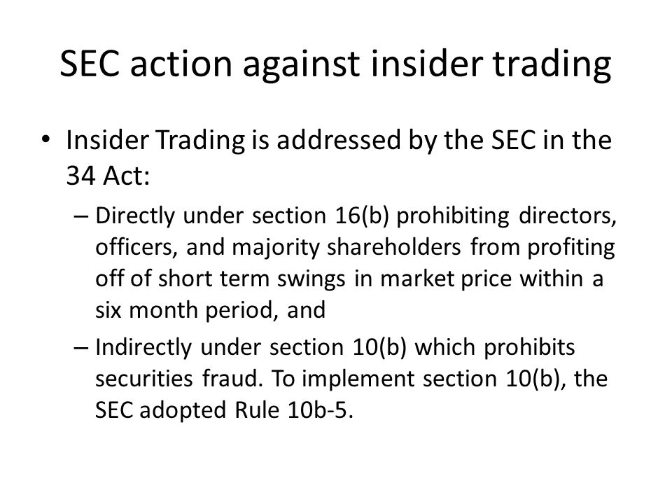 SEC action against insider trading