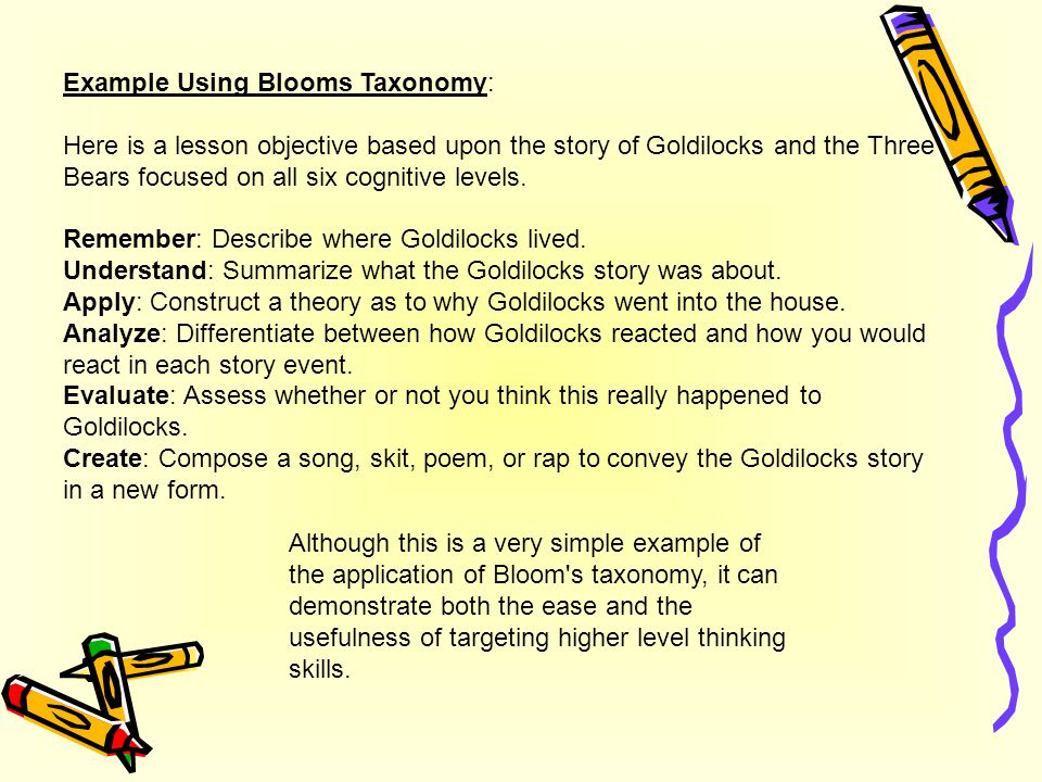 Example Using Blooms Taxonomy: