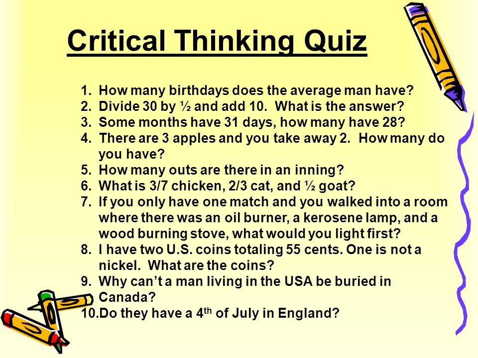 Critical Thinking Quiz