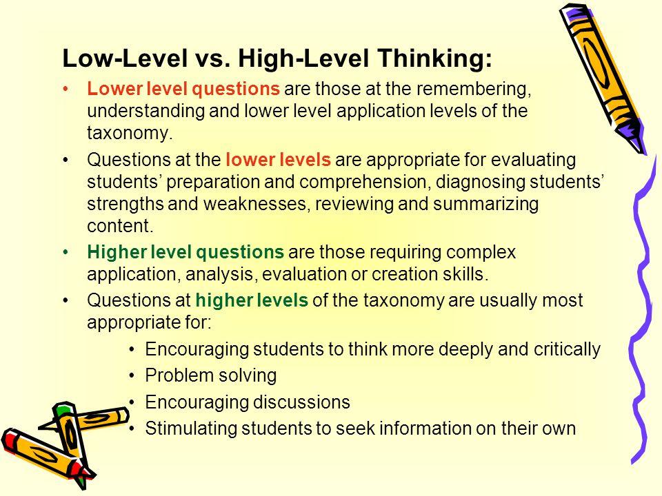 Low-Level vs. High-Level Thinking: