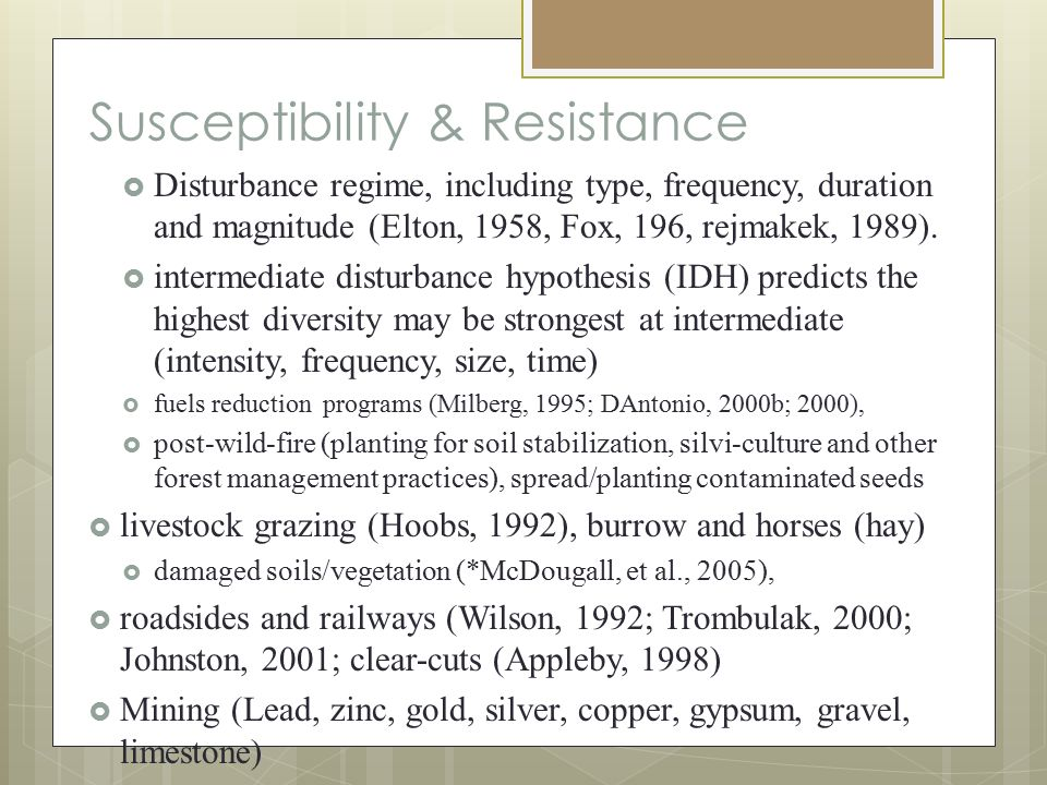 Susceptibility & Resistance