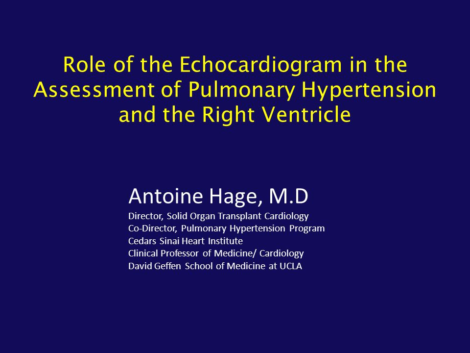 Role of the Echocardiogram in the Assessment of Pulmonary Hypertension and the Right Ventricle