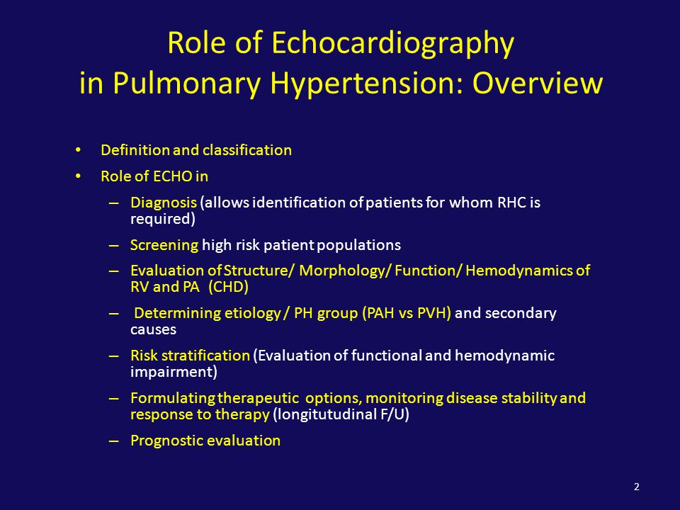 Role of Echocardiography in Pulmonary Hypertension: Overview