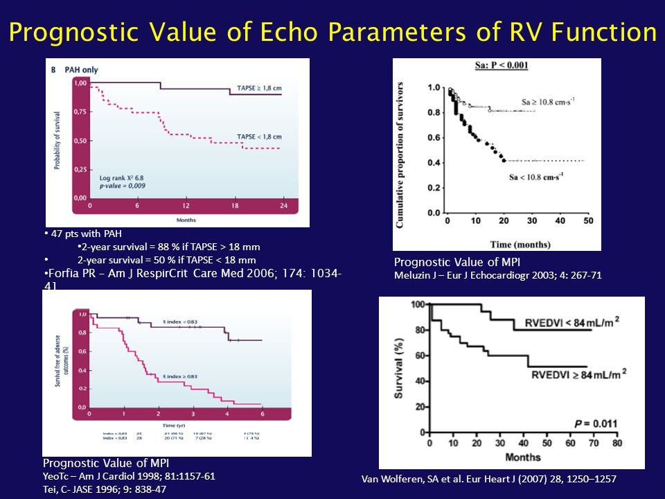 Prognostic Value of Echo Parameters of RV Function
