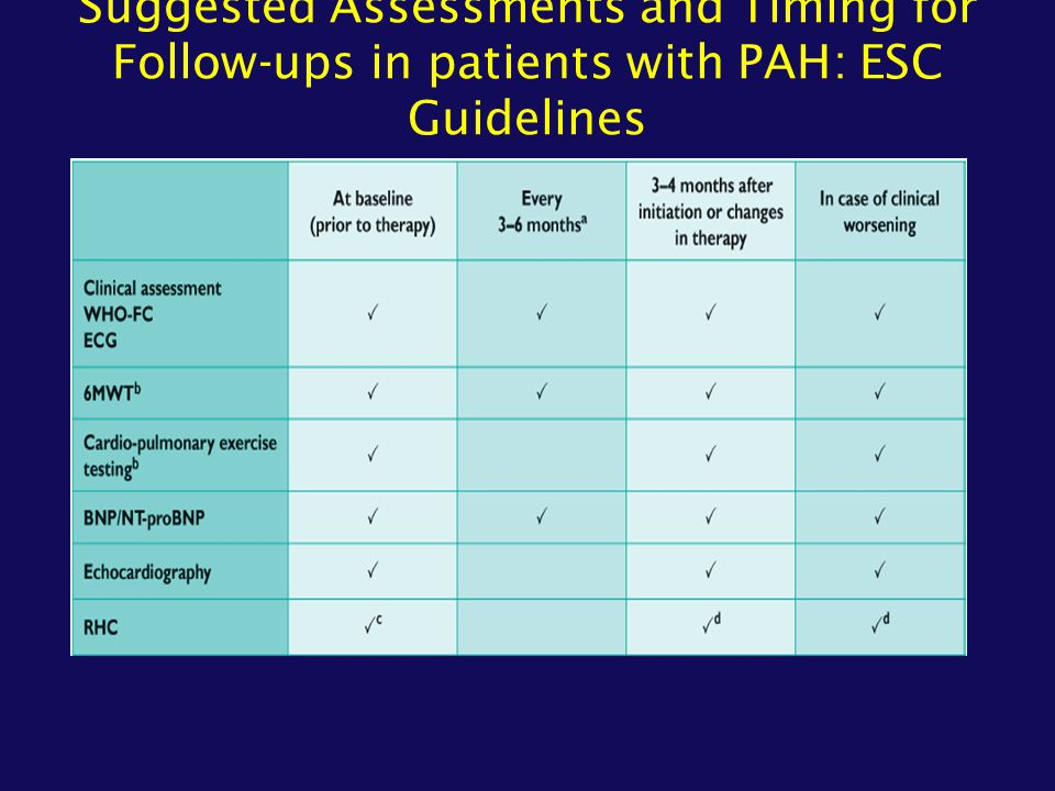Suggested Assessments and Timing for Follow-ups in patients with PAH: ESC Guidelines