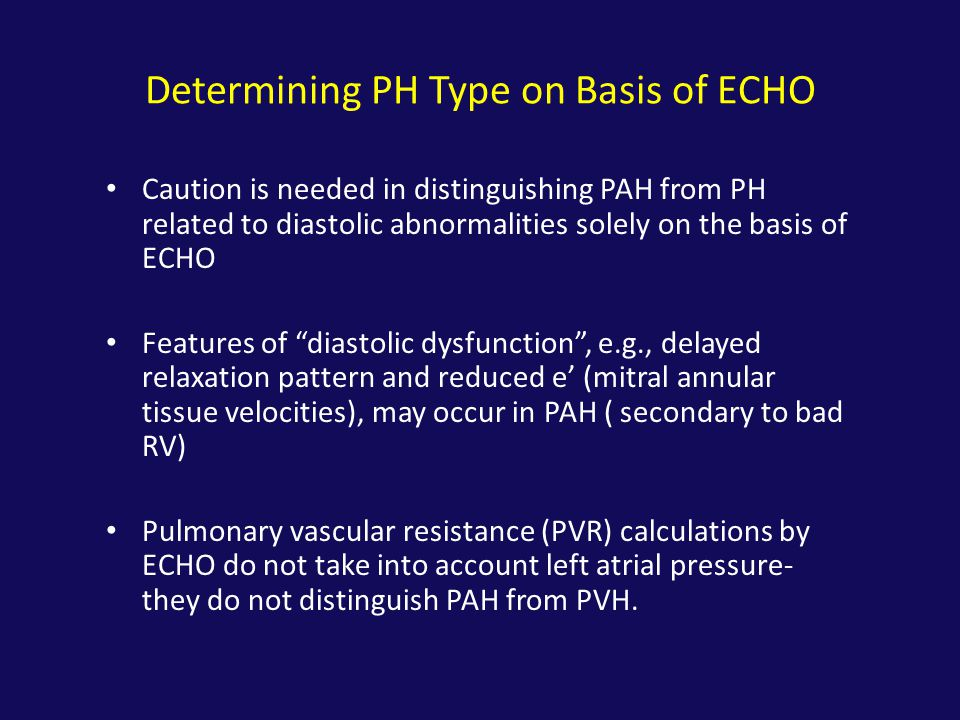 Determining PH Type on Basis of ECHO