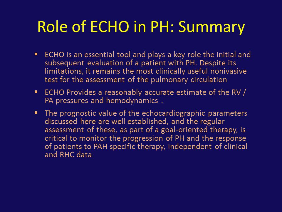 Role of ECHO in PH: Summary