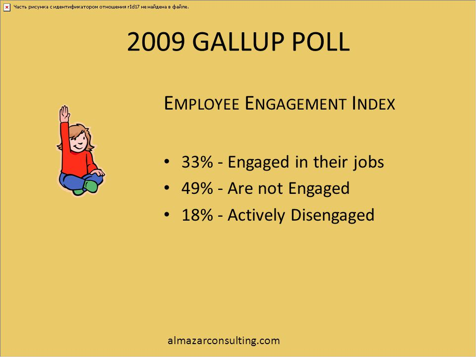 2009 GALLUP POLL Employee Engagement Index 33% - Engaged in their jobs