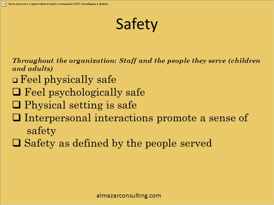 Safety Feel psychologically safe Physical setting is safe