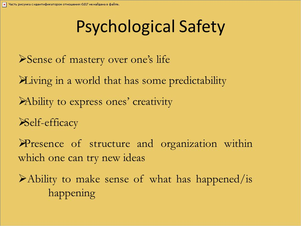 Psychological Safety Sense of mastery over one's life