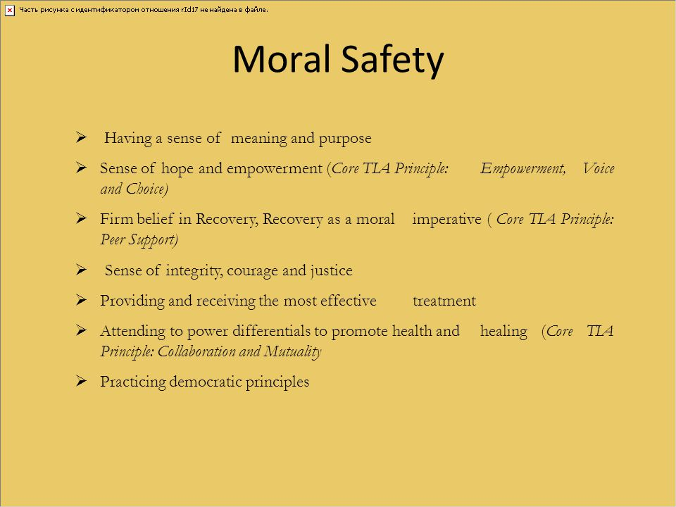 Moral Safety Having a sense of meaning and purpose