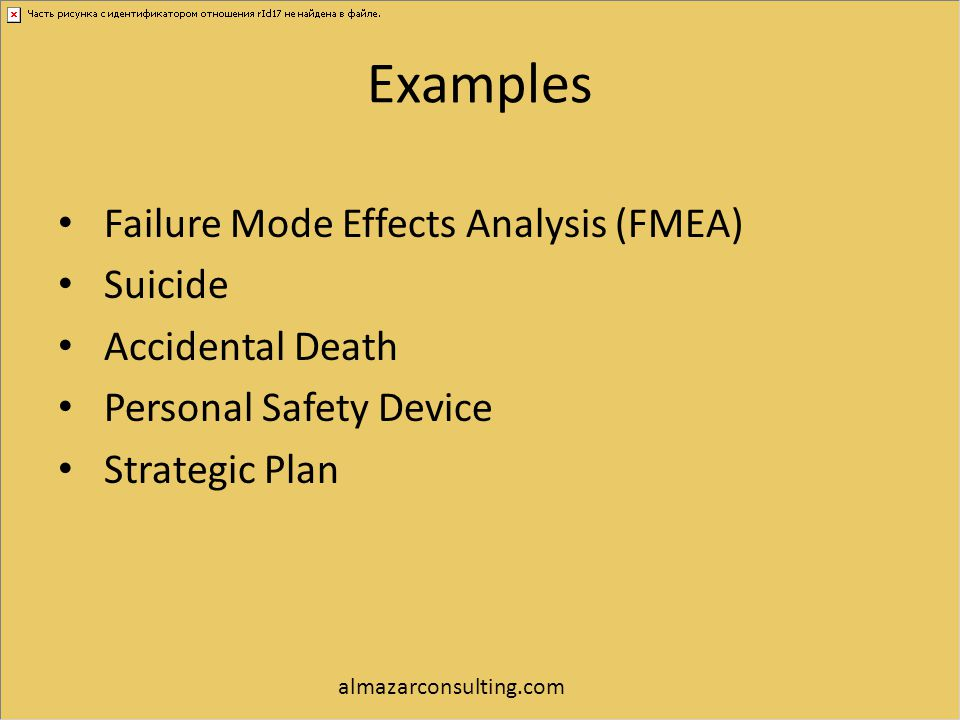Examples Failure Mode Effects Analysis (FMEA) Suicide Accidental Death