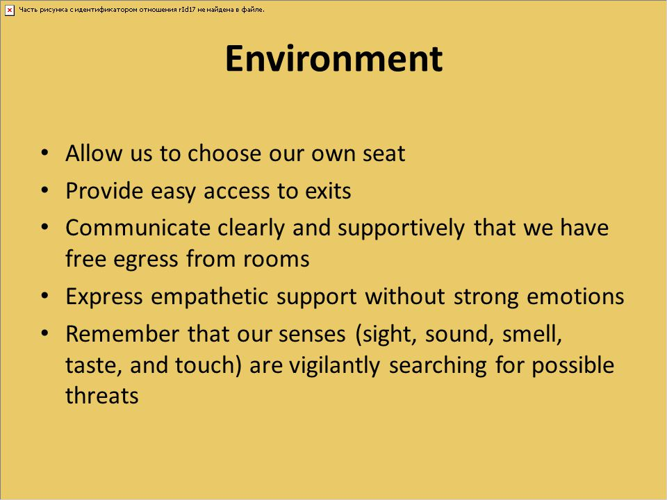 Environment Allow us to choose our own seat