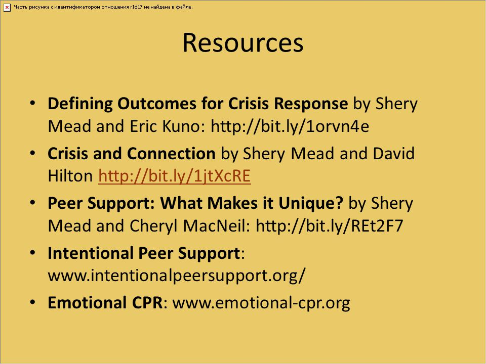 Resources Defining Outcomes for Crisis Response by Shery Mead and Eric Kuno: http://bit.ly/1orvn4e.