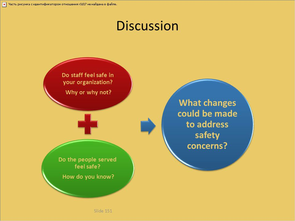 Discussion What changes could be made to address safety concerns