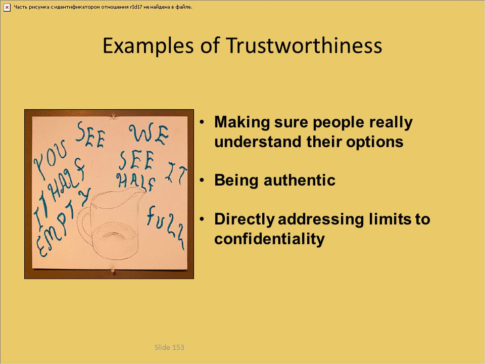 Examples of Trustworthiness