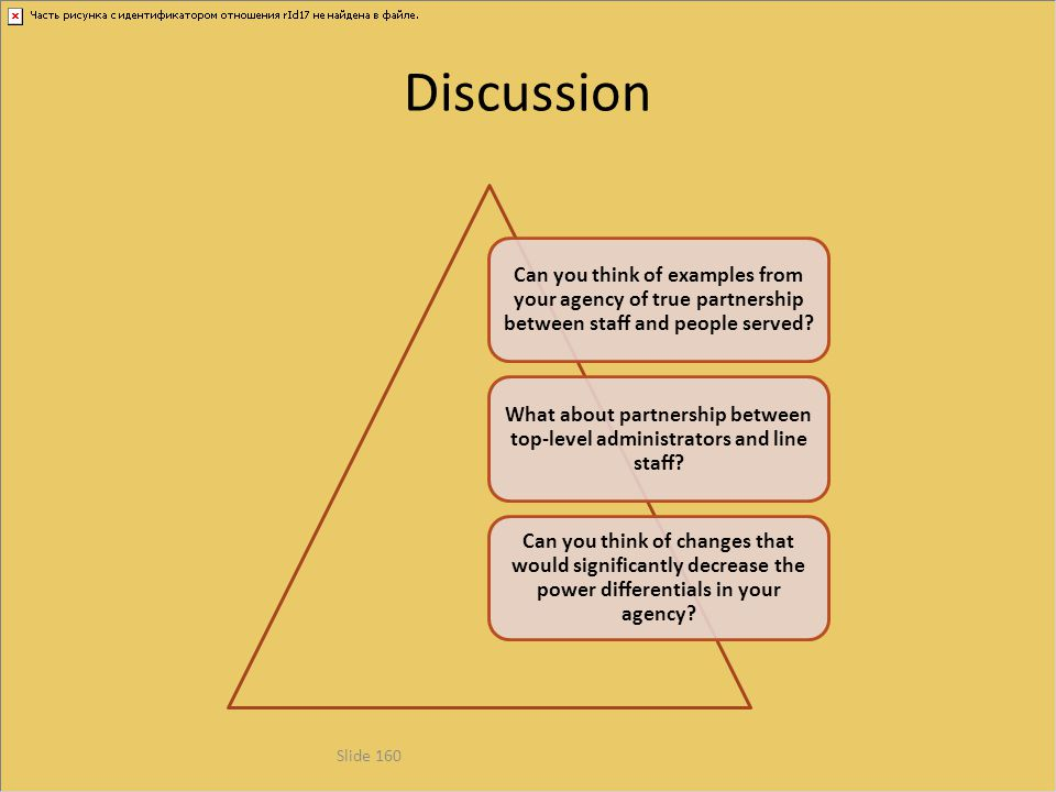 Discussion Can you think of examples from your agency of true partnership between staff and people served