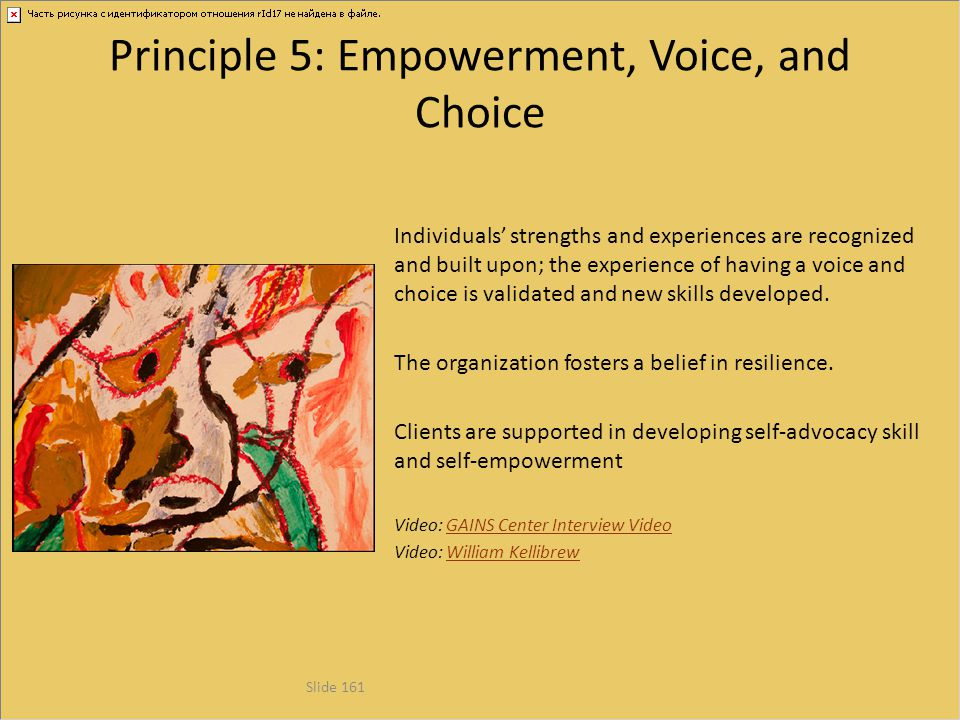 Principle 5: Empowerment, Voice, and Choice