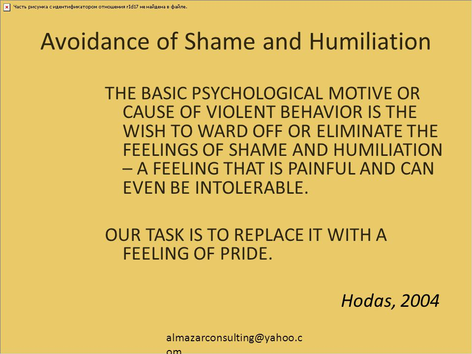 Avoidance of Shame and Humiliation