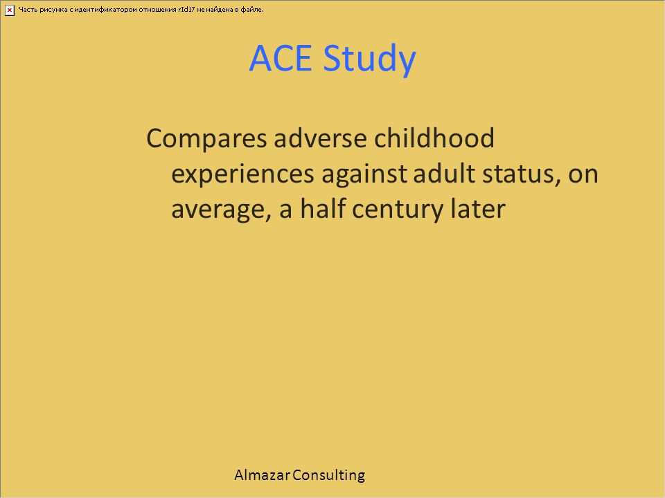 ACE Study Compares adverse childhood experiences against adult status, on average, a half century later.