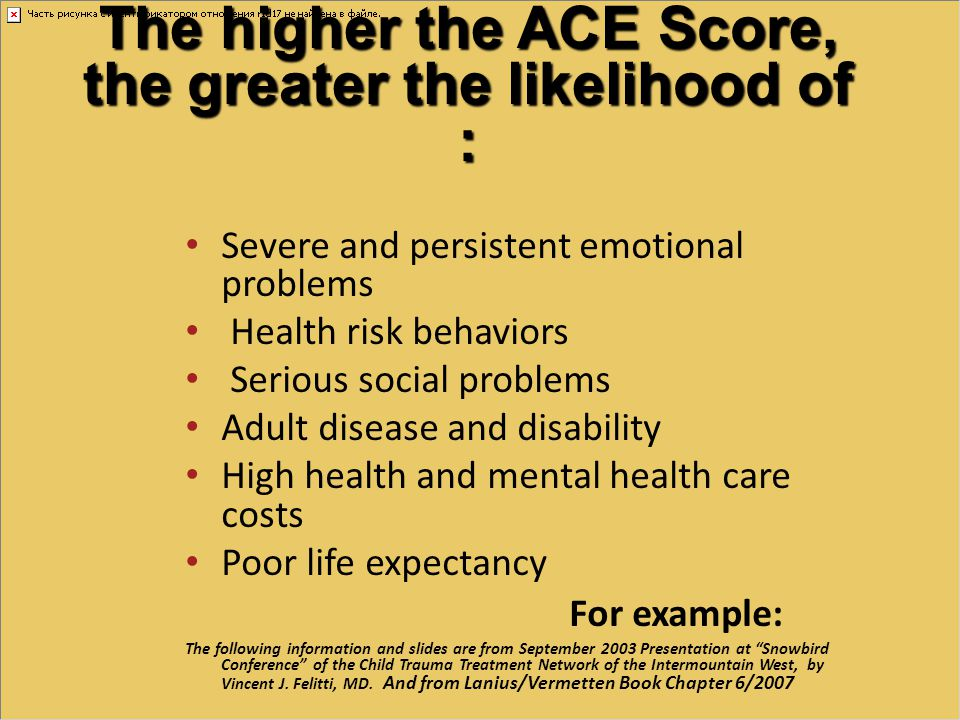 The higher the ACE Score, the greater the likelihood of :