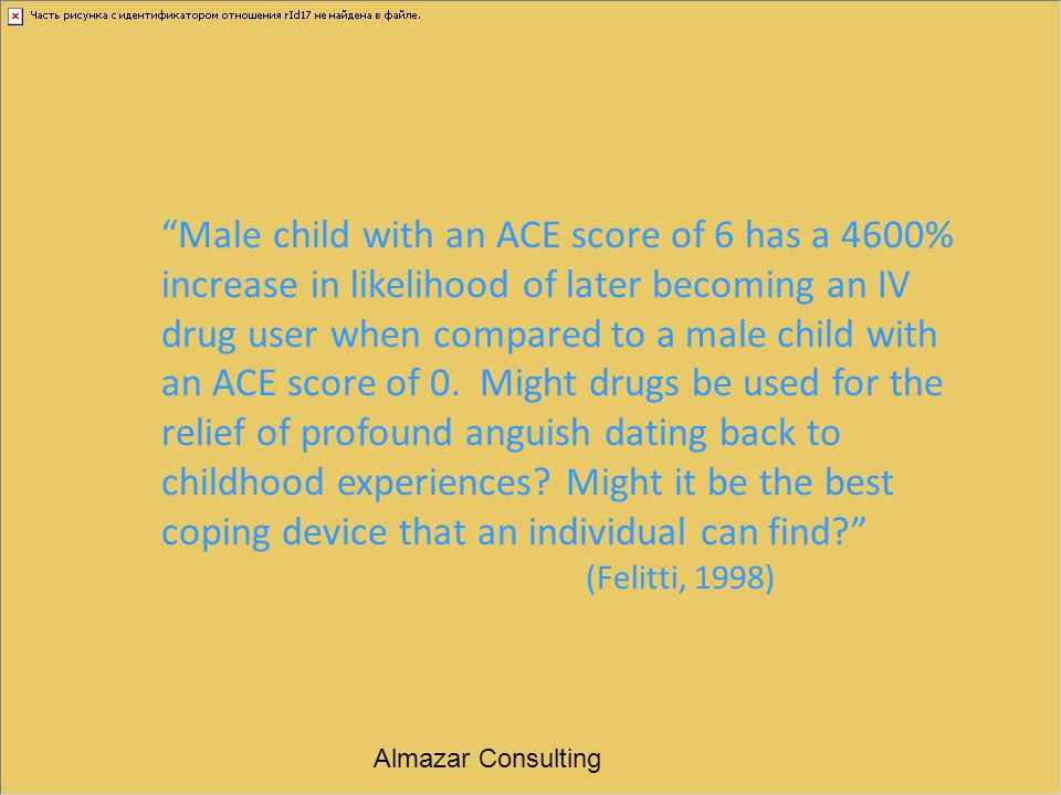 Male child with an ACE score of 6 has a 4600% increase in likelihood of later becoming an IV drug user when compared to a male child with an ACE score of 0. Might drugs be used for the relief of profound anguish dating back to childhood experiences Might it be the best coping device that an individual can find (Felitti, 1998)