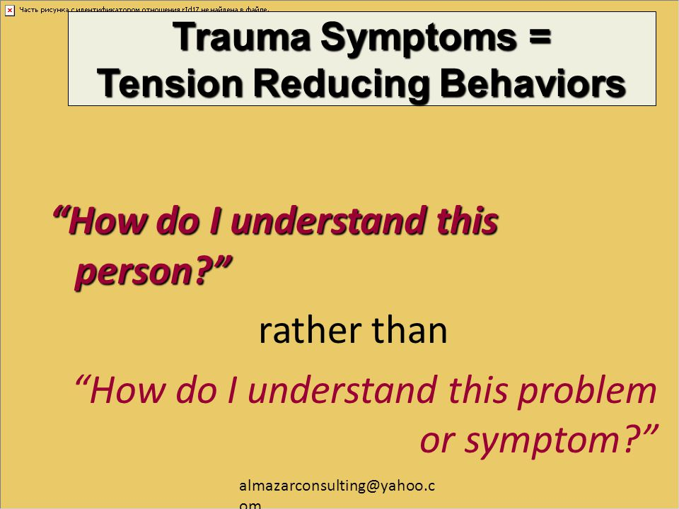 Trauma Symptoms = Tension Reducing Behaviors