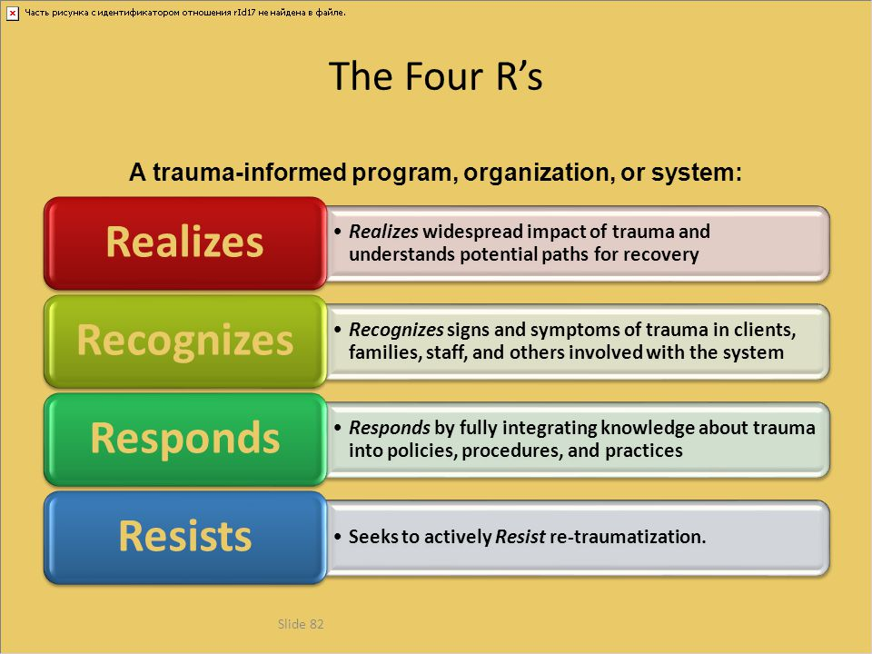 A trauma-informed program, organization, or system: