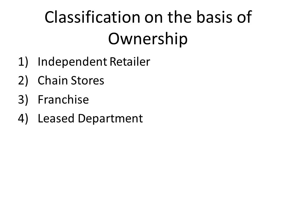 Classification on the basis of Ownership