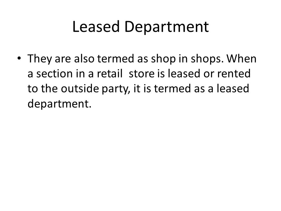 Leased Department