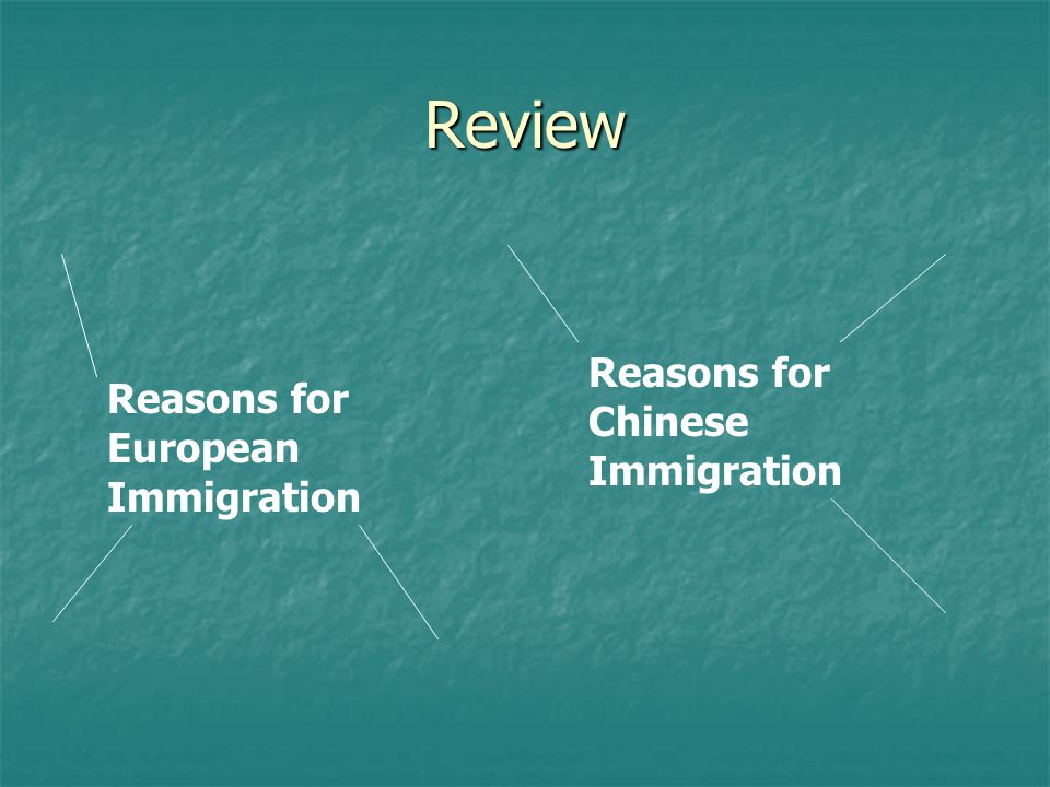 Review Reasons for Chinese Immigration
