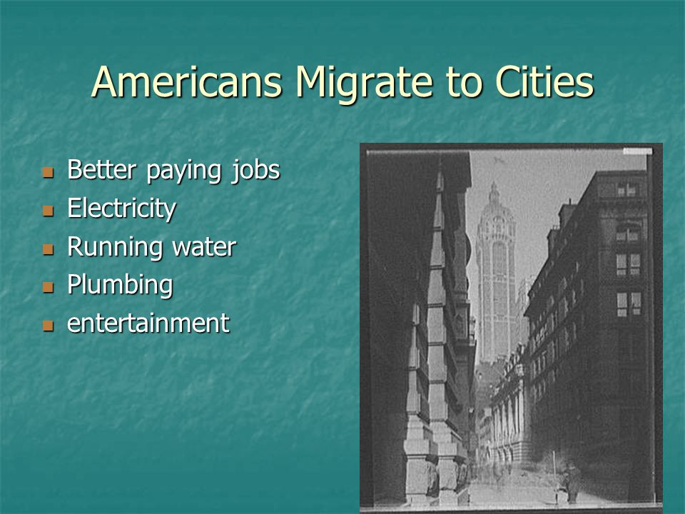Americans Migrate to Cities