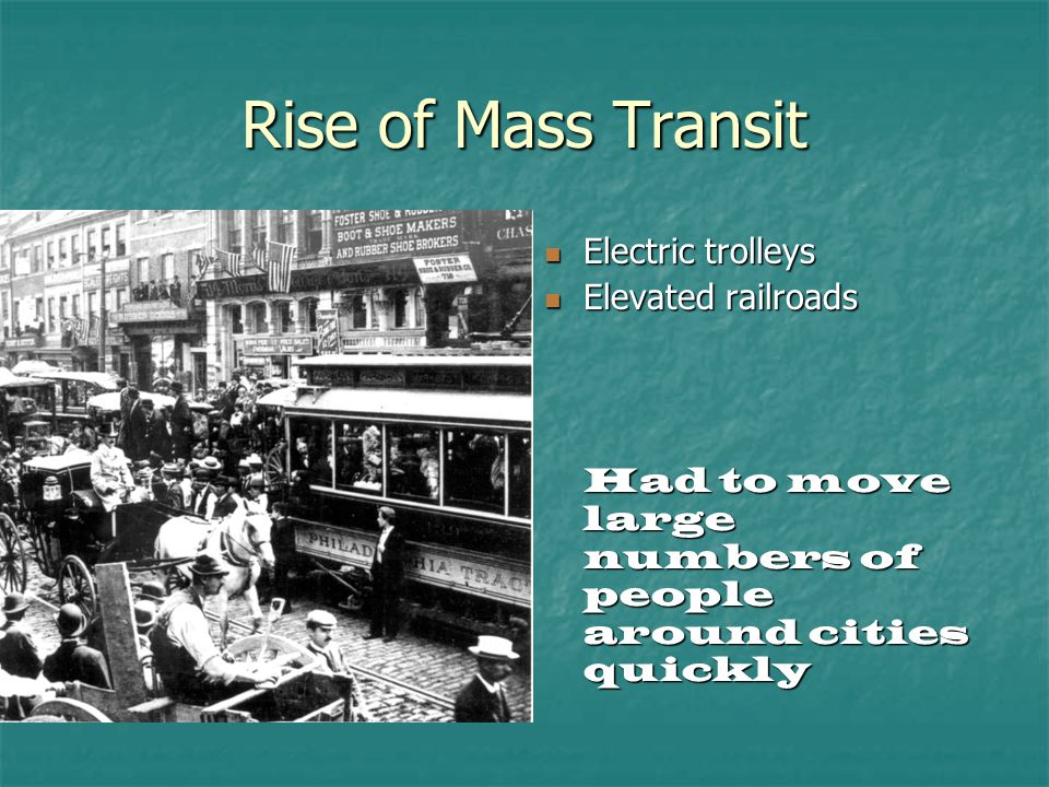 Rise of Mass Transit Electric trolleys Elevated railroads
