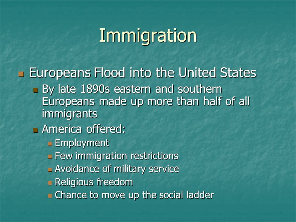 Immigration Europeans Flood into the United States