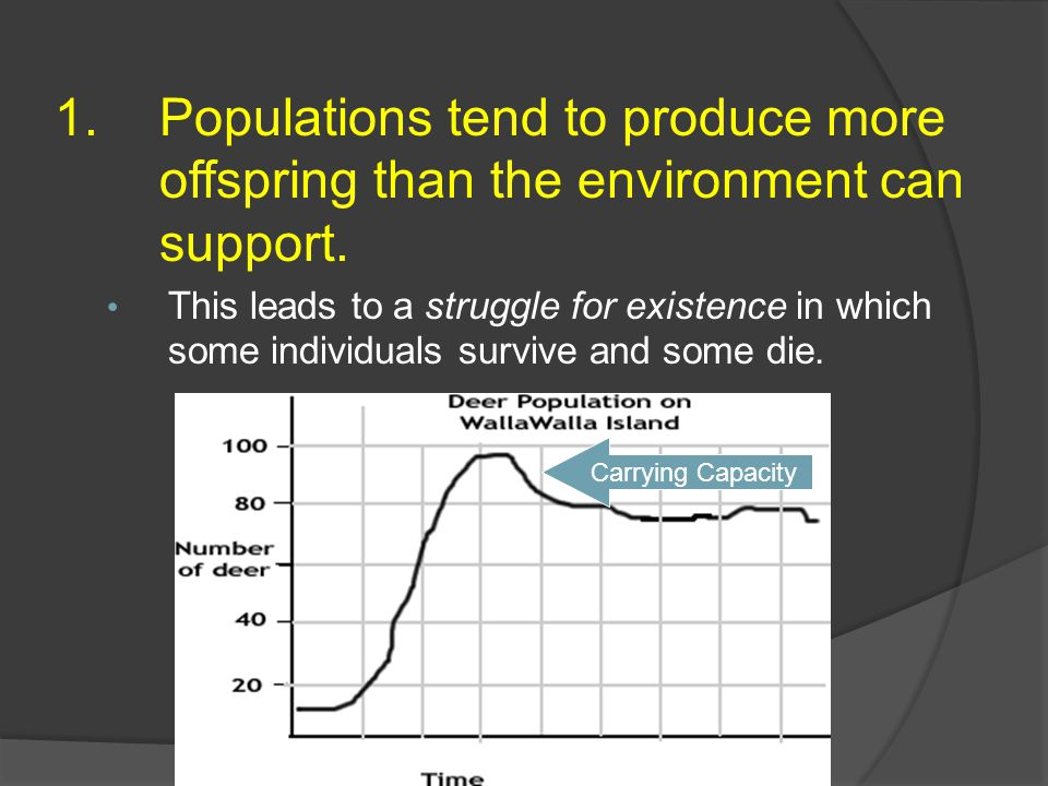 1. Populations tend to produce more offspring than the environment can support.