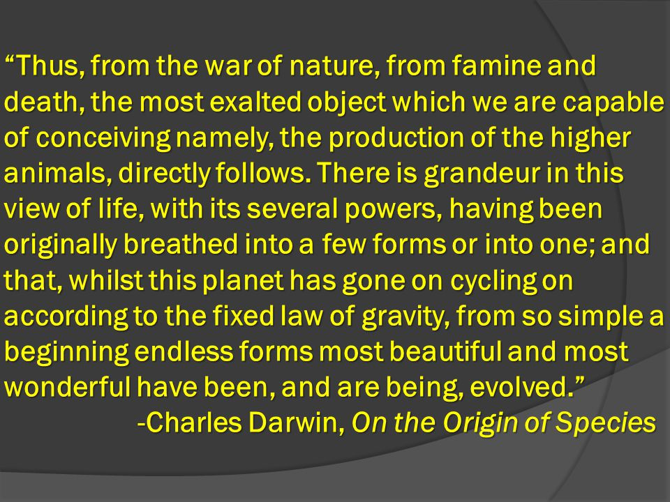 Thus, from the war of nature, from famine and death, the most exalted object which we are capable of conceiving namely, the production of the higher animals, directly follows.