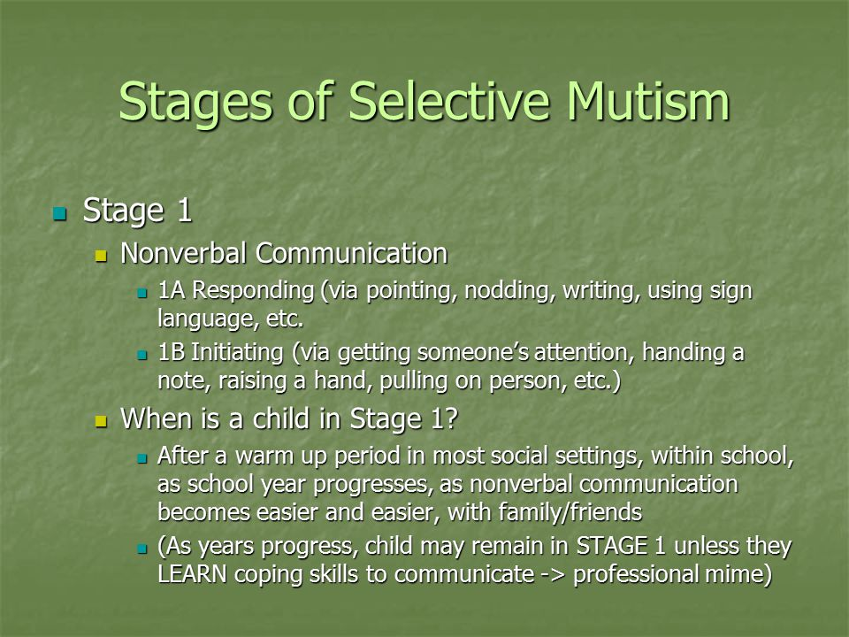 Stages of Selective Mutism