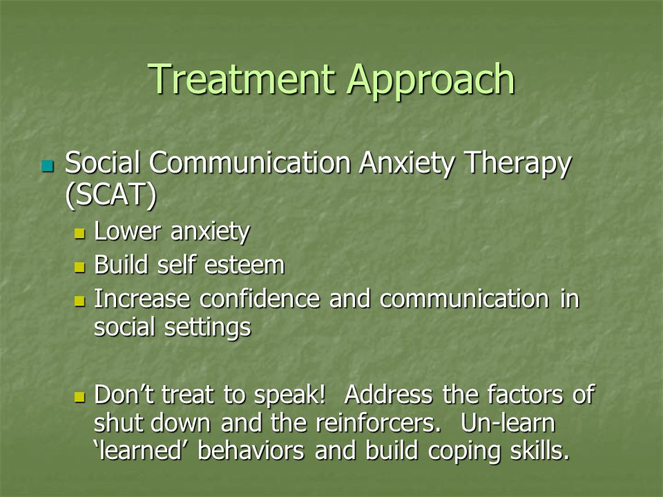 Treatment Approach Social Communication Anxiety Therapy (SCAT)