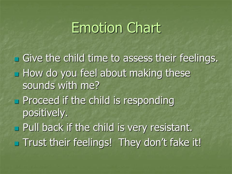 Emotion Chart Give the child time to assess their feelings.