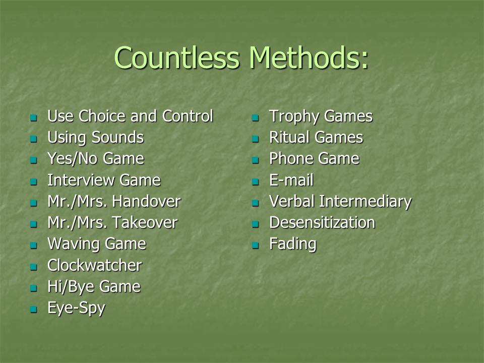 Countless Methods: Use Choice and Control Using Sounds Yes/No Game