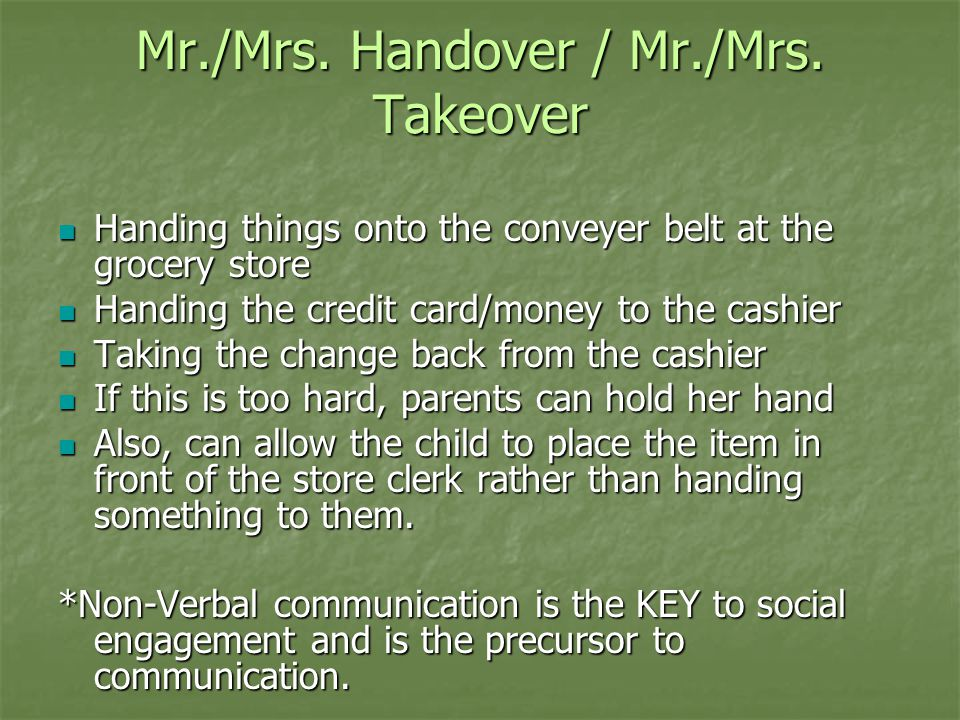 Mr./Mrs. Handover / Mr./Mrs. Takeover