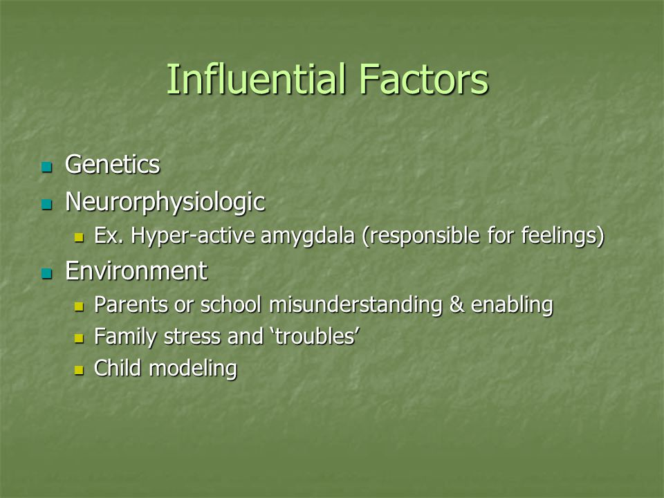 Influential Factors Genetics Neurorphysiologic Environment