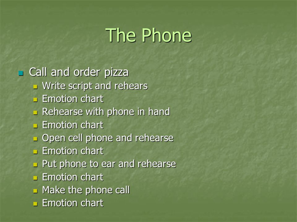 The Phone Call and order pizza Write script and rehears Emotion chart