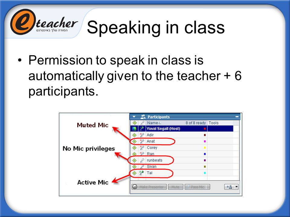 Speaking in class Permission to speak in class is automatically given to the teacher + 6 participants.