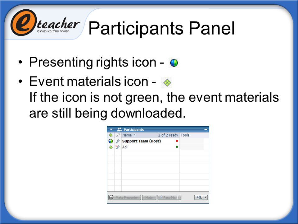 Participants Panel Presenting rights icon -