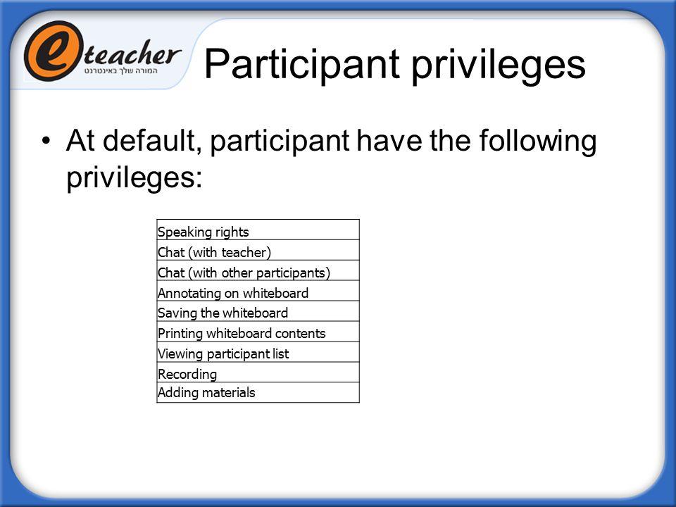 Participant privileges