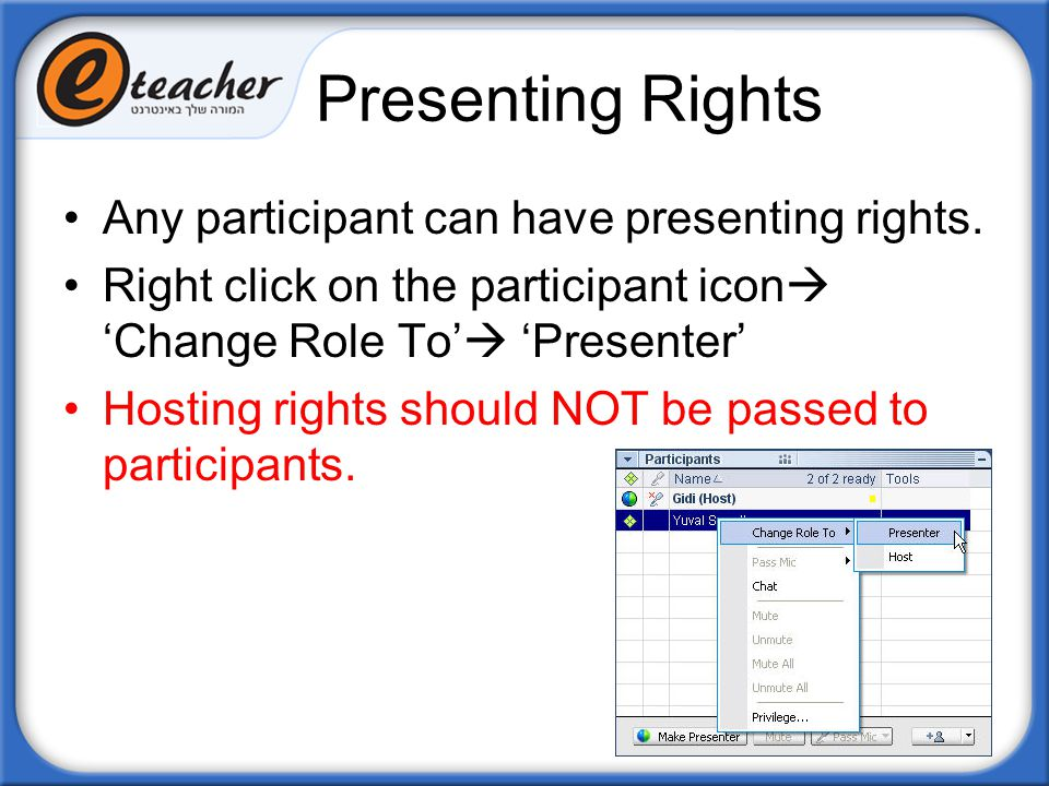 Presenting Rights Any participant can have presenting rights.