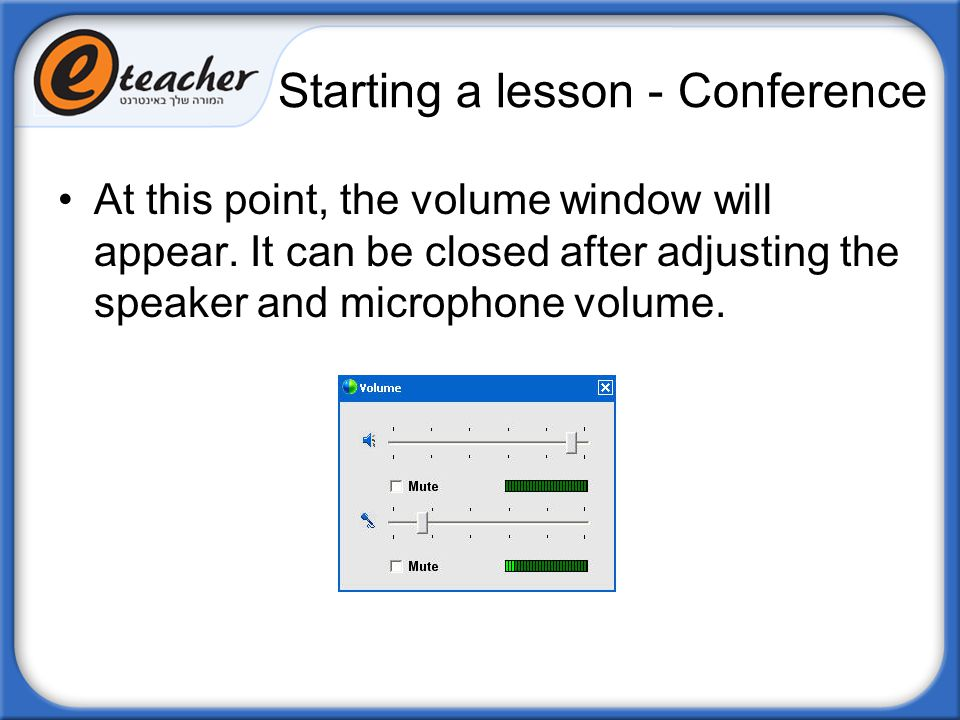 Starting a lesson - Conference