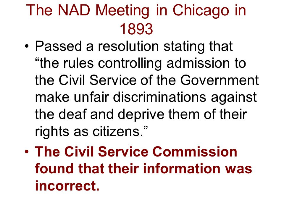 The NAD Meeting in Chicago in 1893